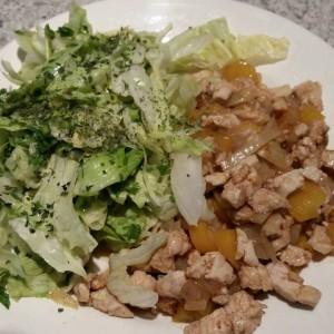 Afb. Kip, ui, paprika en salade